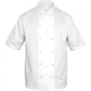 Bluza kucharska, unisex, krótki rękaw, biała, rozmiar S