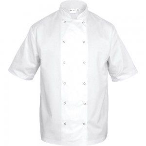 Bluza kucharska, unisex, krótki rękaw, biała, rozmiar M