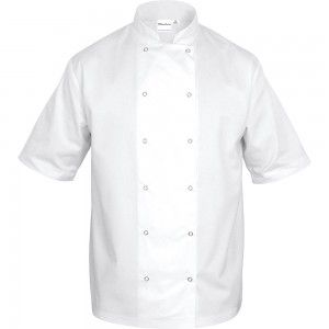 Bluza kucharska, unisex, krótki rękaw, biała, rozmiar XL