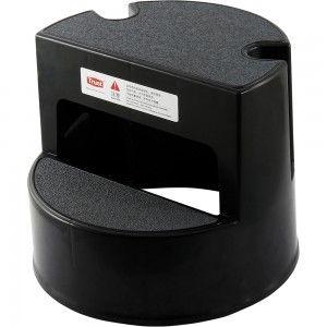 Taboret na kółkach, 2-stopniowy, czarny
