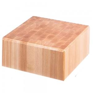 Kloc masarski drewniany 400x500x850 mm na podstawie ze stali nierdzewnej