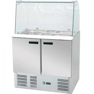 Stół chłodniczy 3 drzwiowy sałatkowy z nadstawą szklaną