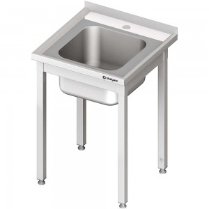 Stół ze zlewem 1-kom.,bez półki 700x700x850 mm spawany