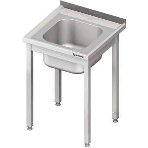 Stół ze zlewem i otworem pod rozdrabniacz, bez półki 600x600x850 mm spawany