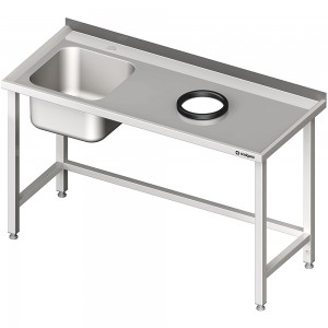Stół przyścienny ze zlewem, bez półki z otworem 1300x600x850 mm, 1 komora po lewej spawany