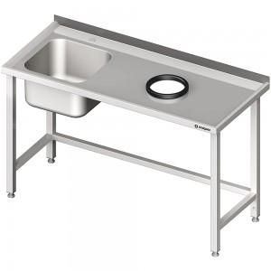 Stół przyścienny ze zlewem, bez półki z otworem 1600x600x850 mm, 1 komora po lewej spawany