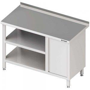 Stół przyścienny z szafką (P),i 2-ma półkami 1500x700x850 mm