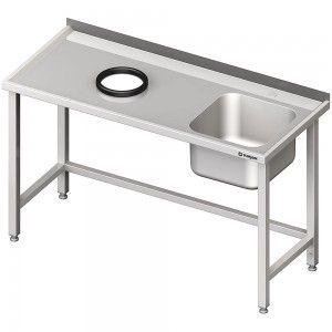 Stół przyścienny ze zlewem, bez półki z otworem 1500x700x850 mm, 1 komora po prawej spawany